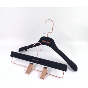 Black velvet hanger rose gold logo garment flocking hanger