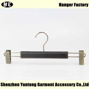 China hanger supplier black wood bottom hanger coated with leather [MBW-008]