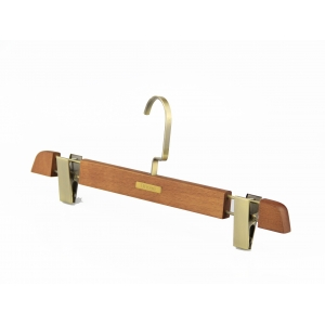 MBW-003 luxury brown wooden bottom hanger with metal plate logo
