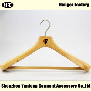 MSW-008 natural wooden suit hanger with bar
