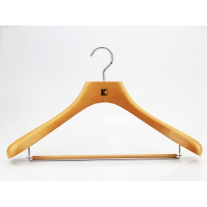 MSW-011 Deluxe men wooden suit hanger with trouser bar