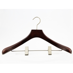 MSW-012 factory custom brand logo men suit wooden hanger with pant clips