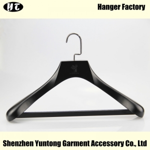 MSW-013 customized black wooden clothes hanger wood material suit hanger with pant bar