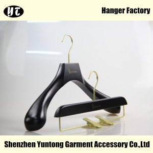 MSW-016 high quality beautiful wood clothes hanger china black wood pants hanger