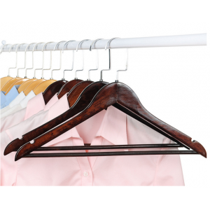 MSW-021 black flat wooden hanger for home and hotel usage