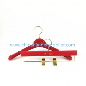 MTV-004 china hanger factory luxury red velvet flocked plastic hanger women coat jacket hanger