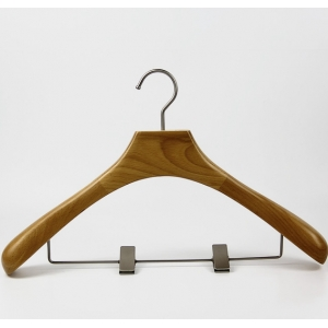 Natural wood color wooden suit hanger with pants metal clips[WHG49]