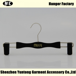 VPH-001 black velvet pants hanger with non slip surface for men or women