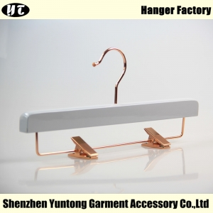 WBW-001 Beautiful China hanger factory white wooden pants hanger for skirt