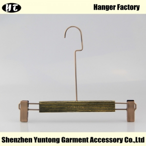 WBW-002 wooden pant hanger with long metal hook bottom hanger with clips