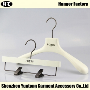 WSW-009 China hanger supplier White women wooden clothes hanger for garment