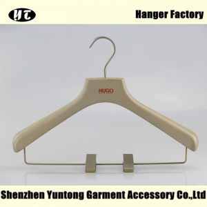 WSW-017 wooden suits hanger with metal clips for high end custom