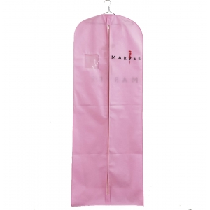 Warm pink non woven garment bags wedding dress cover bags customized logo