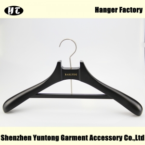 Unique design black wood coat hanger China hanger supplier[MTW-013]