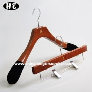 China Brown Men suit set luxury wooden hanger with non slip velvet at the end of shoulder China hanger supplier factory[W001] factory