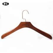 China High end China hanger manufacture brown wooden shirt clothes hanger factory