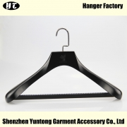 China MSW-013 customized black wooden clothes hanger wood material suit hanger with pant bar factory