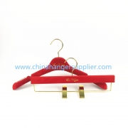 China MTV-004 china hanger factory luxury red velvet flocked plastic hanger women coat jacket hanger factory