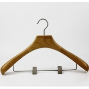 China Natural wood color wooden suit hanger with pants metal clips[WHG49] factory