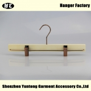 China WBW-004 Custom white wood skirt hanger pant hanger factory