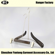 China WSW-014 fashion design luxury wooden display clothes hanger long hook wooden hanger factory