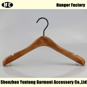 China WTW-006 top quality wooden hanger for lady brown wood hanger with notch and under hook factory