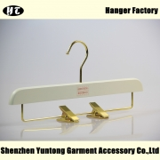 China white wooden bottom hanger pant hanger with clips China hanger supplier factory [WBW-008] factory